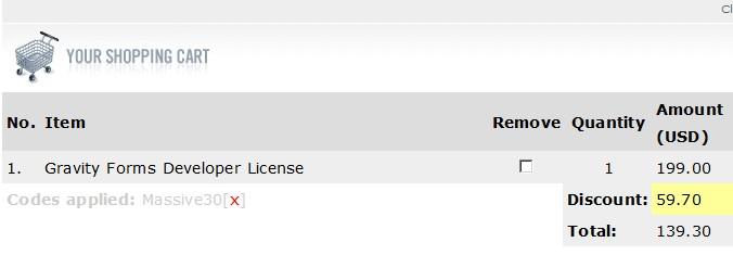 Gravity Forms Developer License discount code 30 off